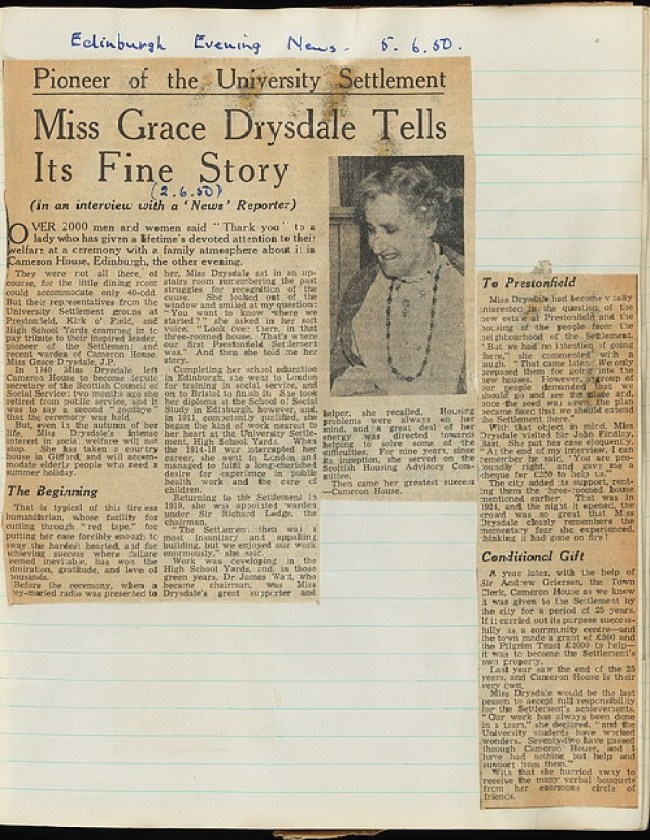 Pioneer of the University Settlement: Miss Grace Drysdale Tells Its Fine Story
