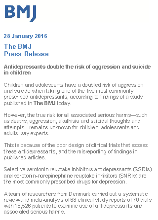 BMJ press release on antidepressants