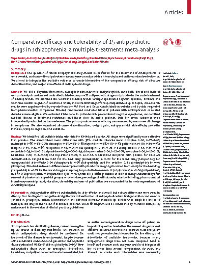 Comparative efficacy and tolerability of 15 antipsychotic drugs in schizophrenia