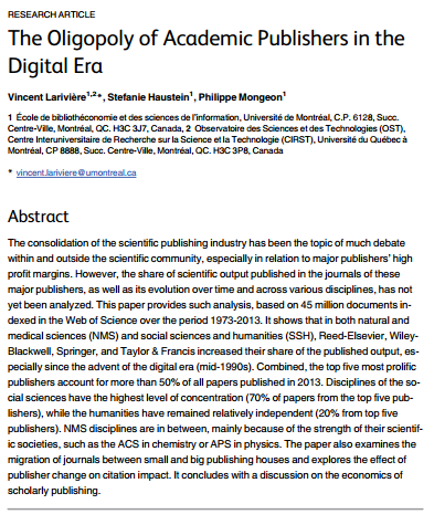 The Oligopoly of Academic Publishers in the Digital Era