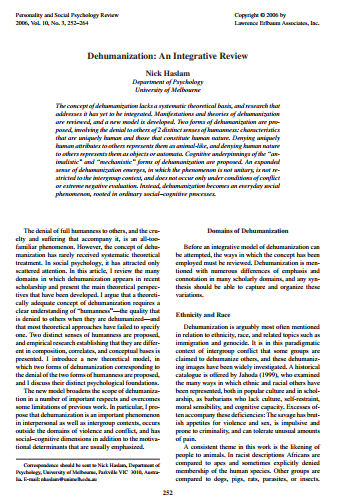 Click to Download a copy of 'Dehumanization An Integrative Review'