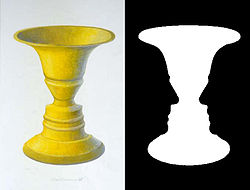This picture, Rubins Vase, is known as what is called an 'Ambiguous illusion'