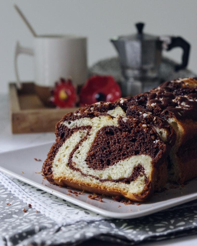 Plumcake leggero bicolore cacao e yogurt, ricetta con l'olio