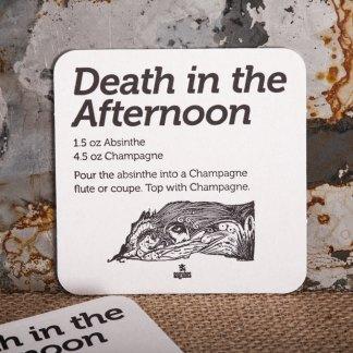 """Raghaus Studios """"Death in the Afternoon"""" Hemingway beverage coaster"""
