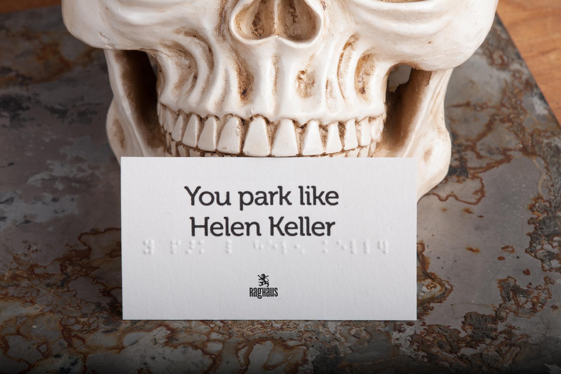 You park like Helen Keller. Set of 25 Conversation Cards embossed ...