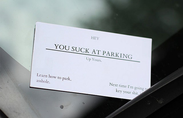 you suck at parking offensive business cards