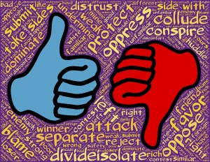cartoon image of two hands, thumbs up and down, red and blue