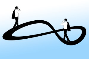 a cartoon image of an infinity loop with a business man on each end of the loop with his coat flung over his shoulder