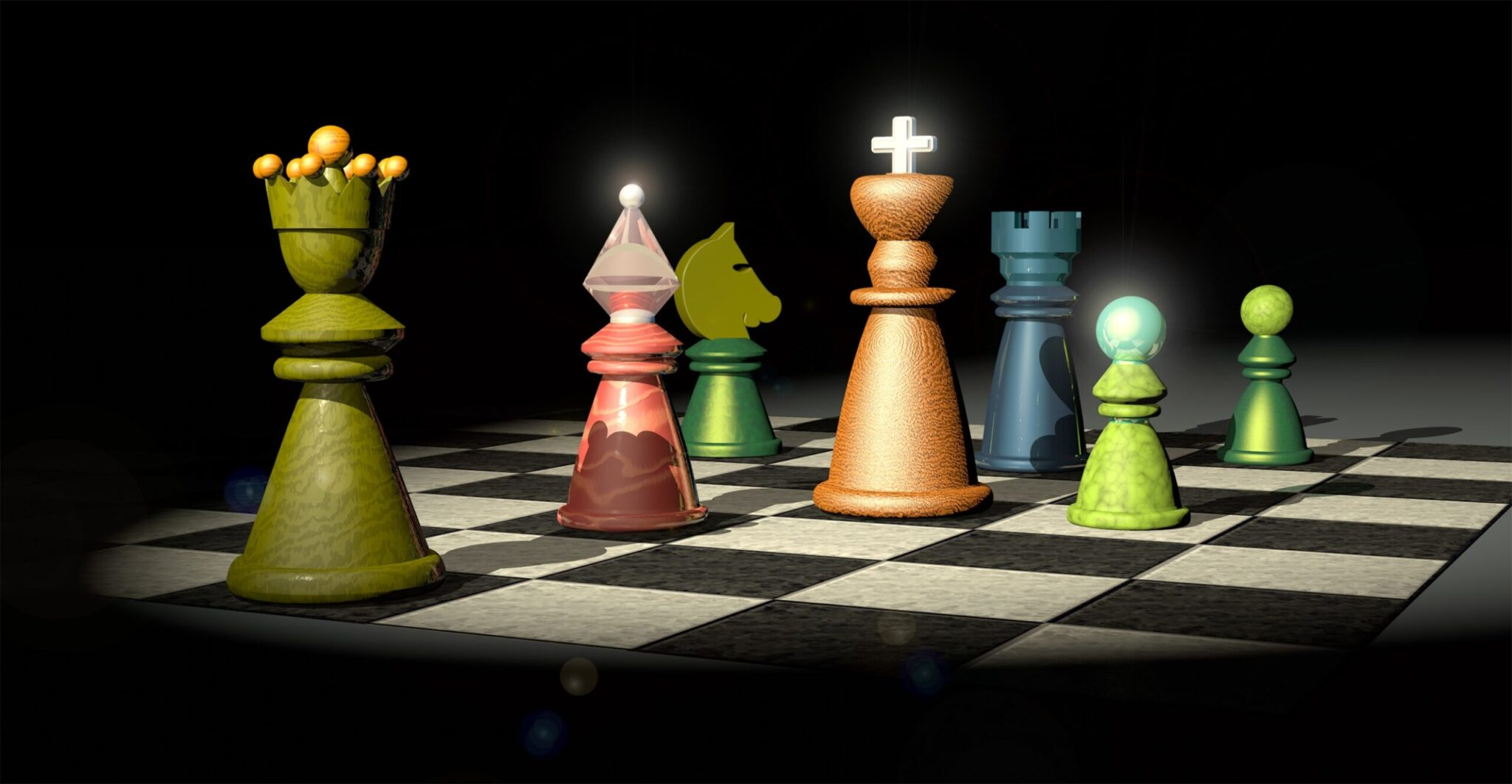 image of a chess board with 7 different colored pieces on the board to represent essentials for the game