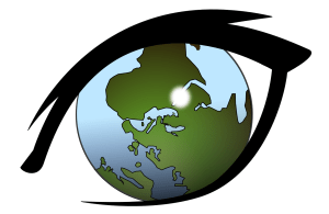 cartoon image of an eye with the eyeball at the center being a n image of the world or globe
