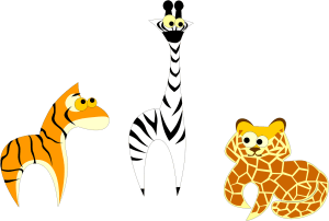 cartoon image of giraffe with black stripes, tiger with