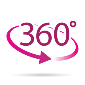 the number 360 with an arrow moving around it, encircling it, to demonstrate the 360 viewpoint that can see the whole picture