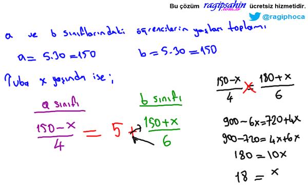 aritmetik ortalama yaş ortalaması