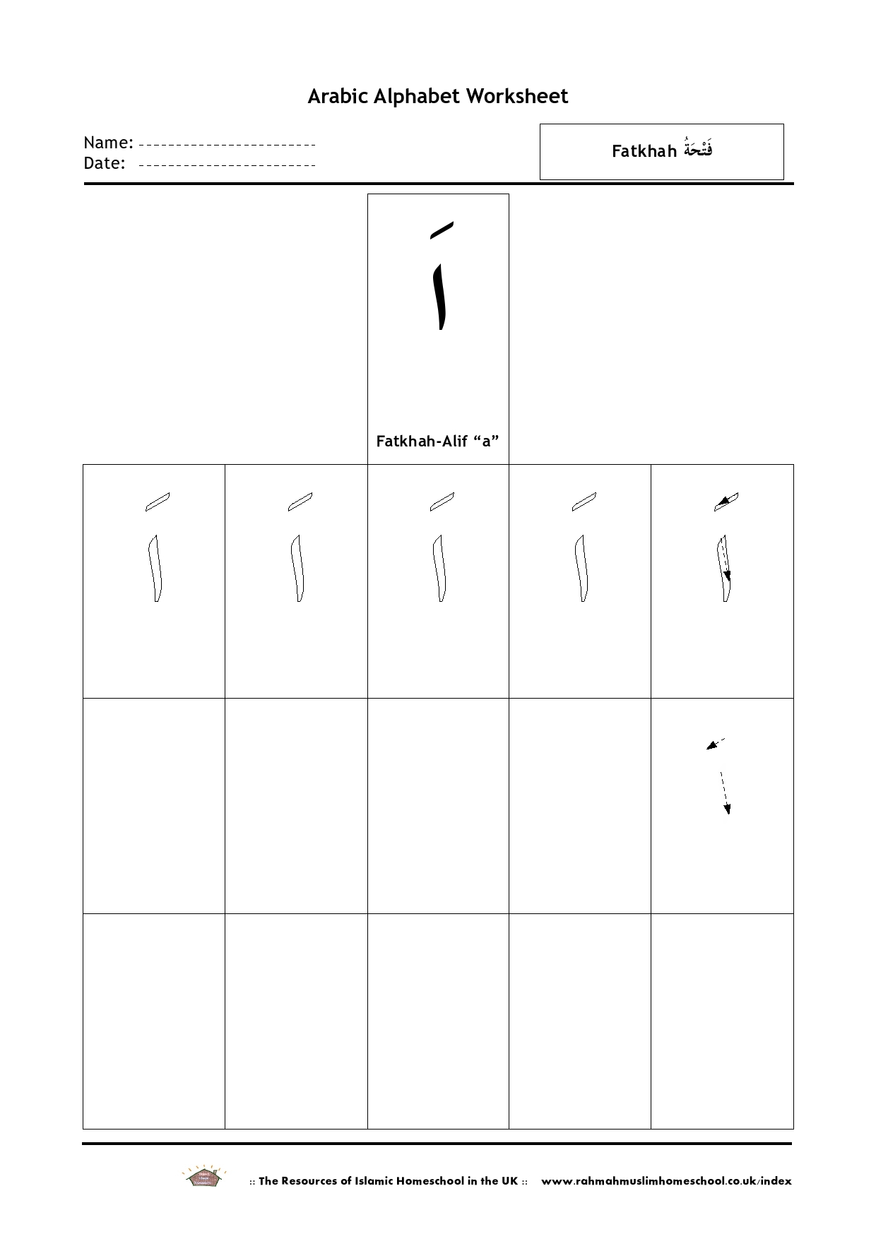 Free Arabic Alphabet Worksheet Fatkhah Alif A