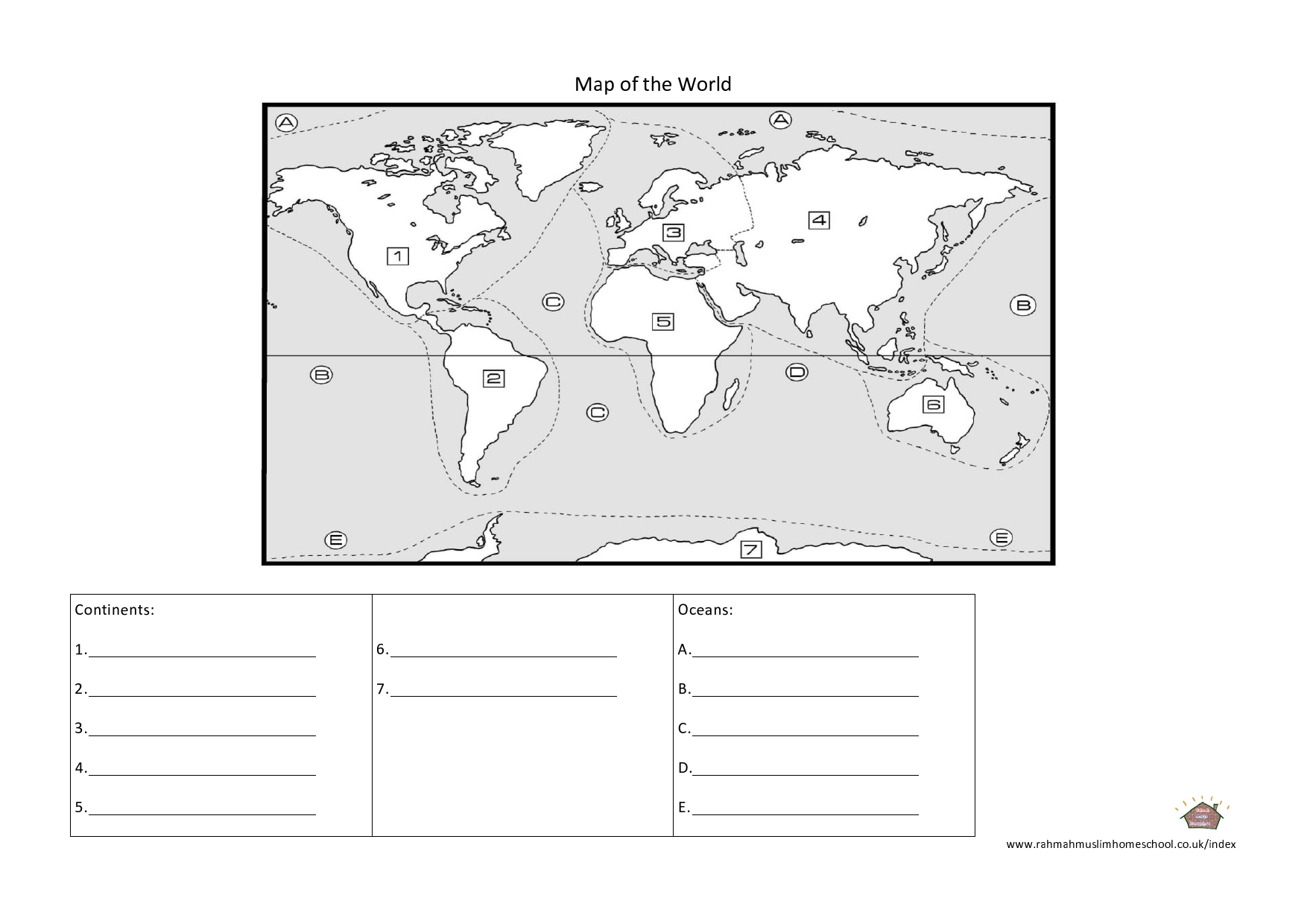Maps And Continents Worksheet