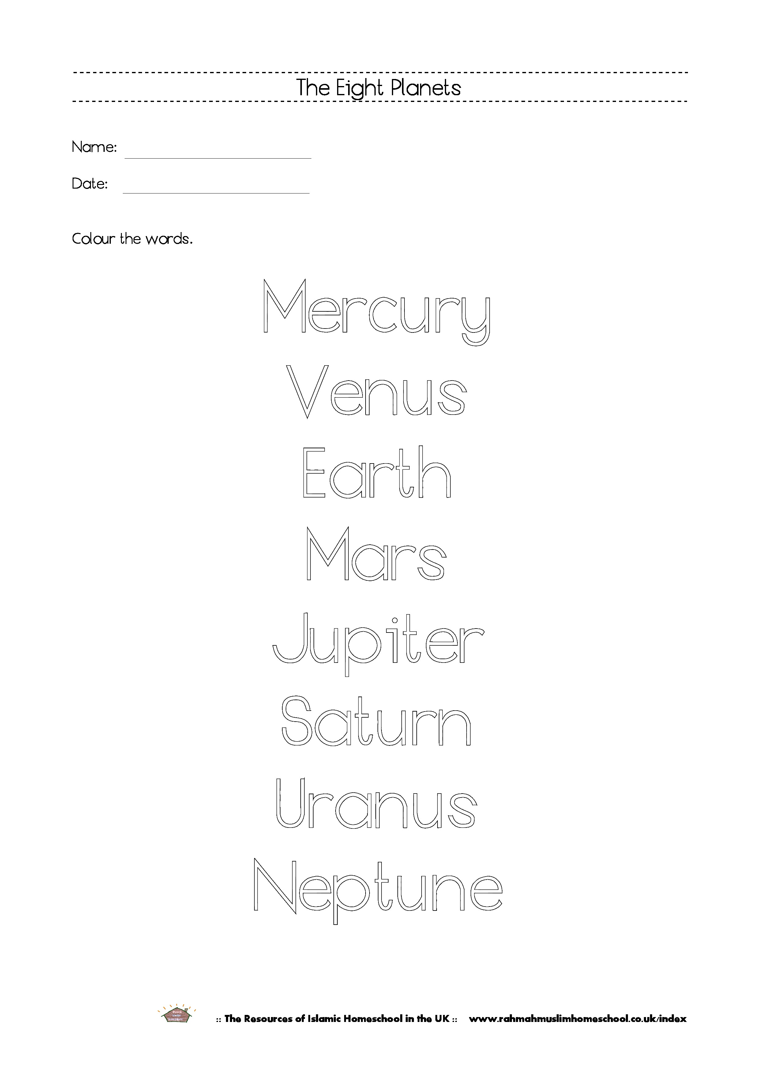 Free Printable The Eight Planets Workbook And Poster