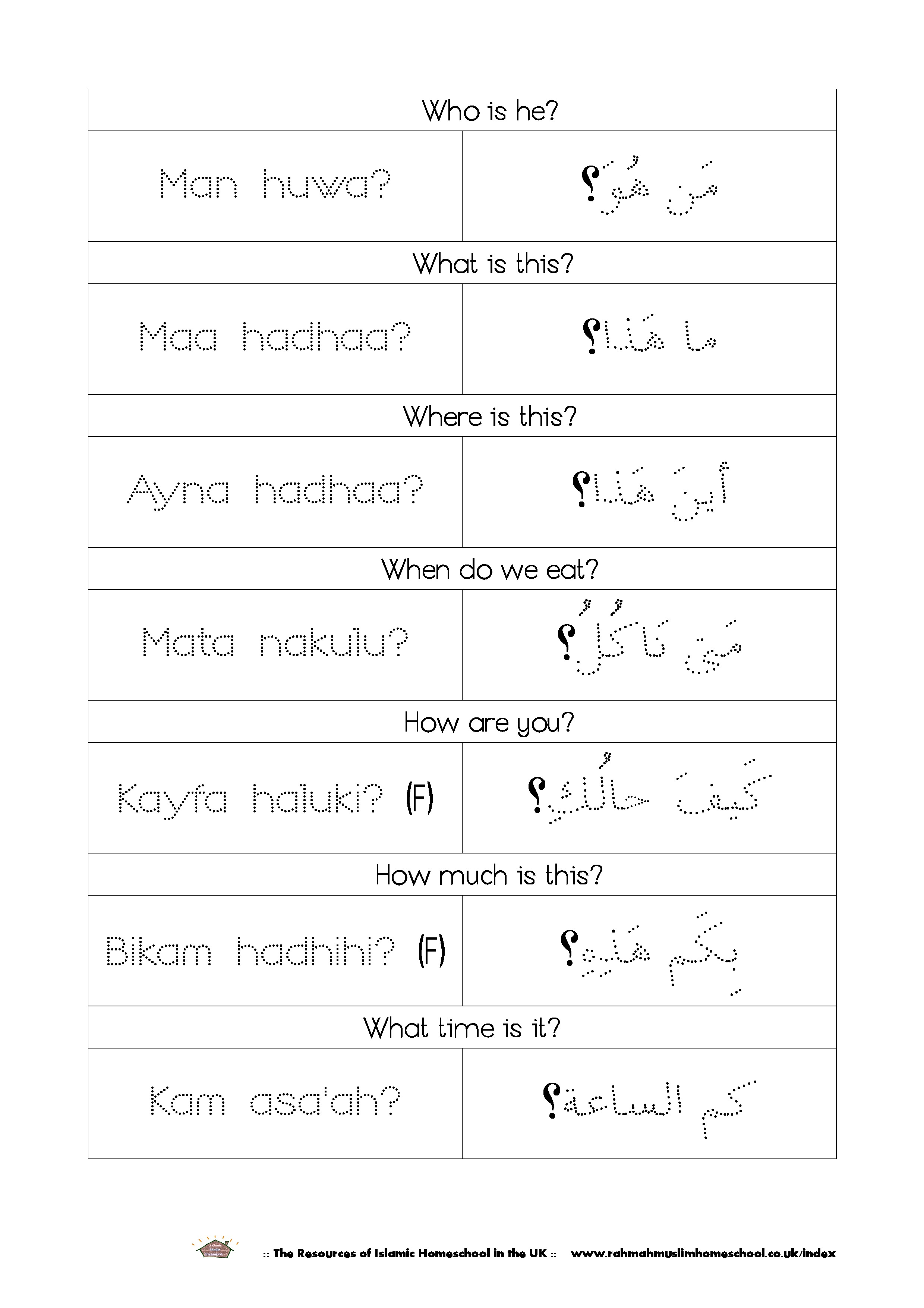Review 2 Online Arabic Class