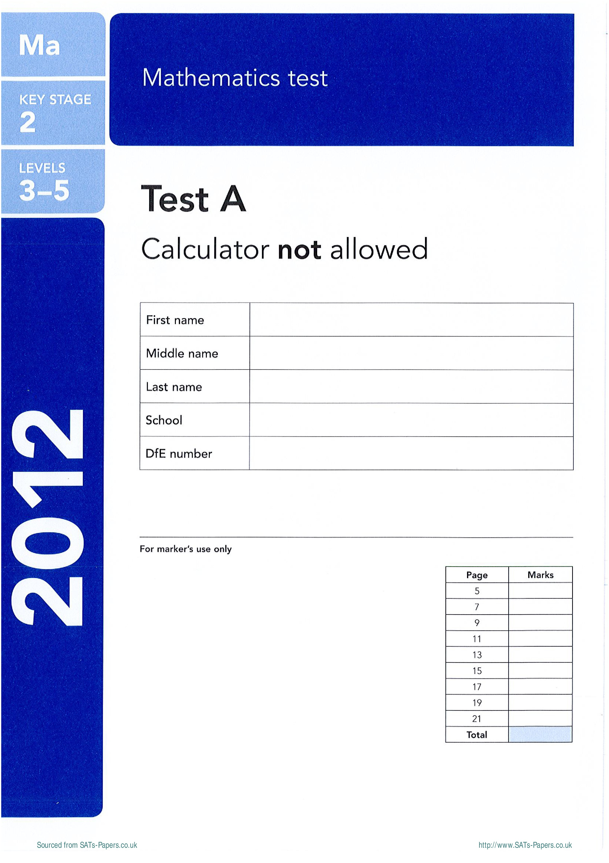 Free Worksheets Ks2 Maths Test A Sats Papers