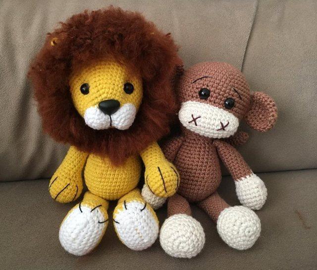 Leão e Macaco Amigurumi