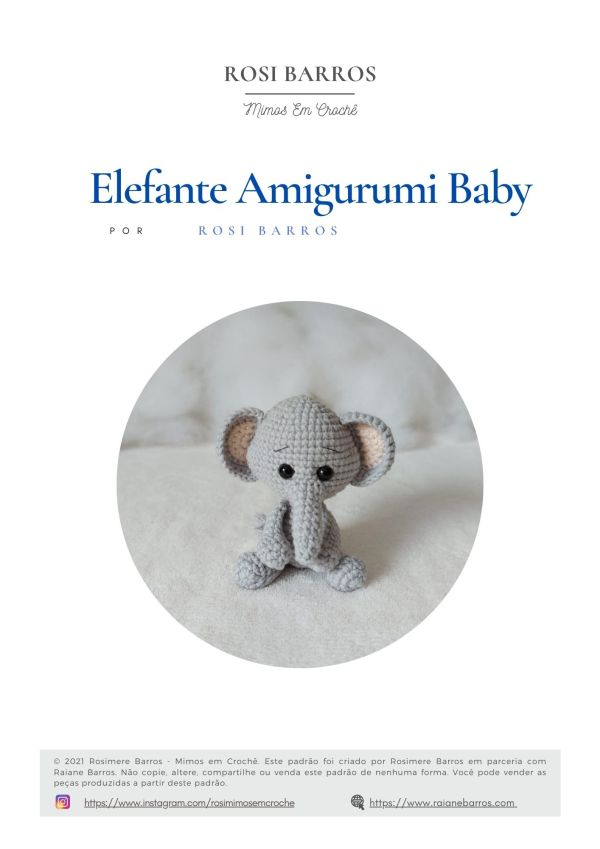 Elefante Amigurumi Baby by Rosi Barros