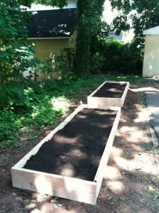 Raised garden beds in backyard garden. (Summer 2012)