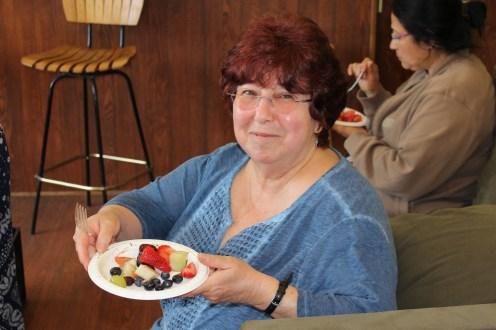 Fruit salad displayed by Linda.