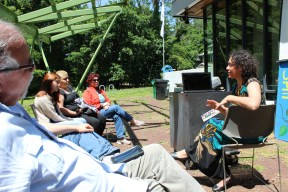 Workshop participants felt the power of the sun after everyone decided it was too beautiful of a day to move the workshop inside the Environmental Education Center.
