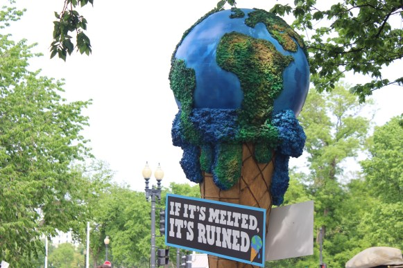 Even businesses were represented at the Climate March. This is Ben and Jerry's global warming cone.