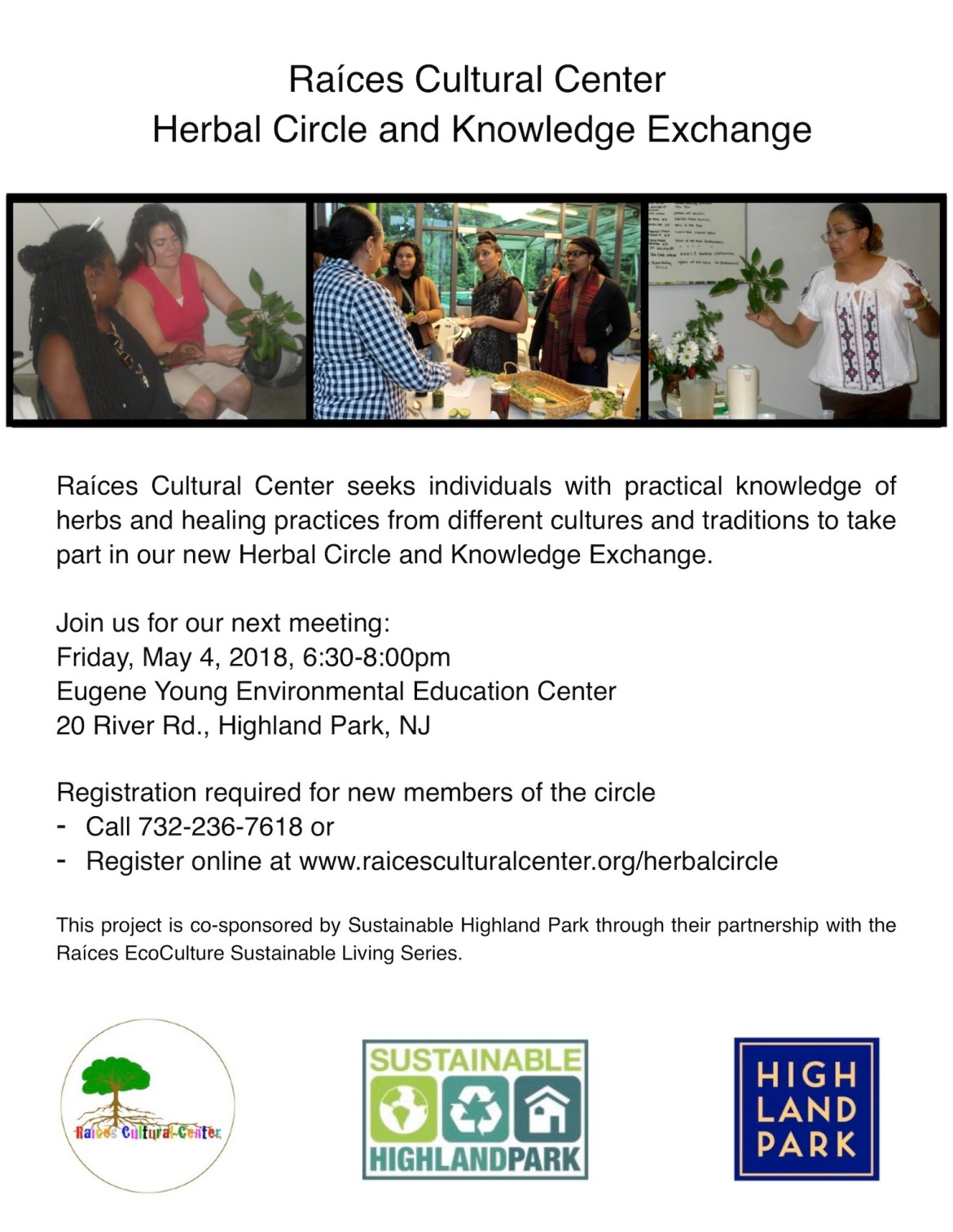 Flyer for Herbal Circle and Knowledge Exchange meeting, Friday, May 4 at 6:30pm at 20 River Road in Highland Park, New Jersey