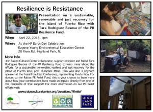 flyer for Resilience is Resistance presentation at Highland Park's Earth Day Celebration Sunday, April 22 at 1pm, 20 River Road, Highland Park, NJ