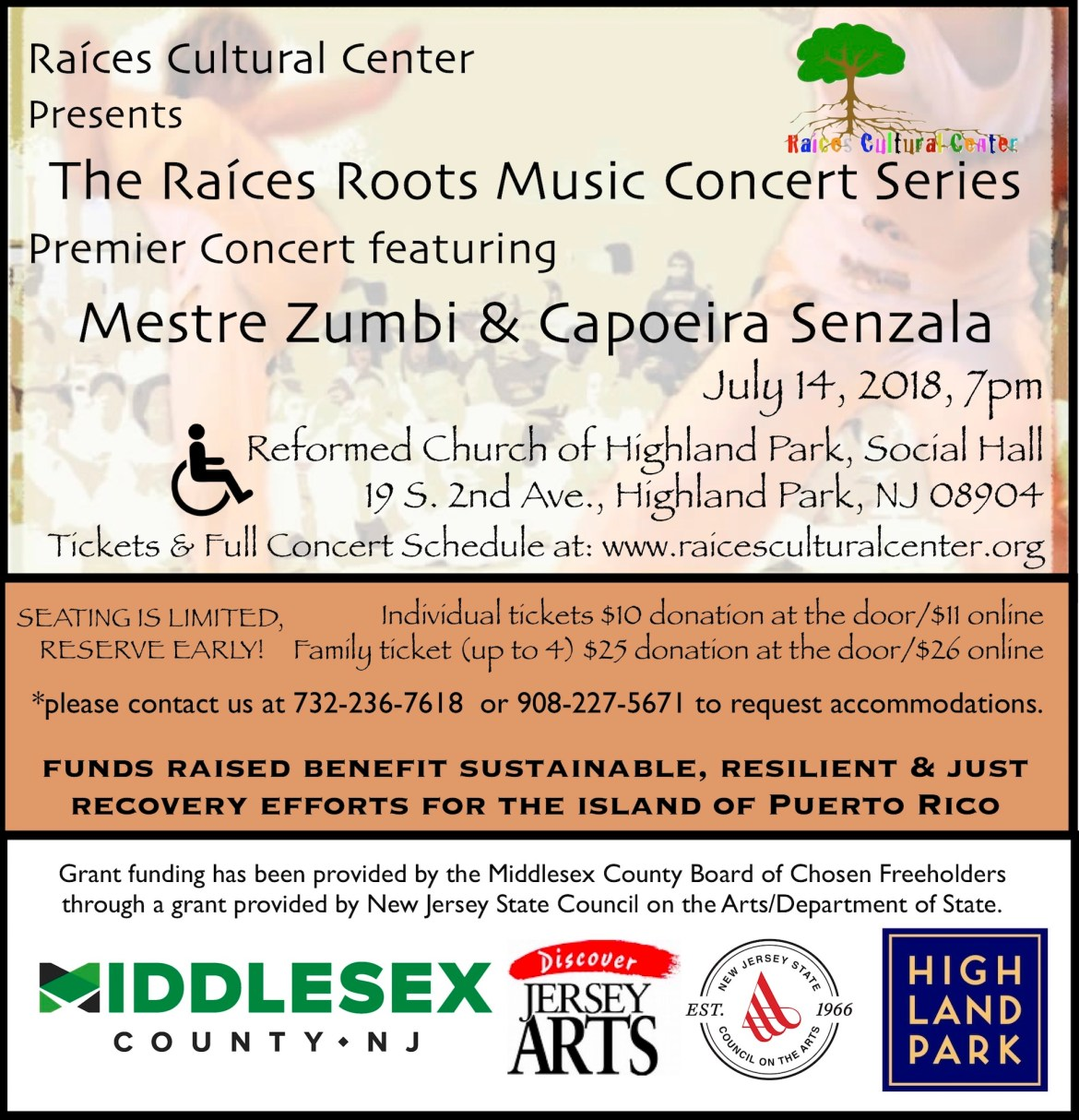 flyer for the first concert in the Raíces Roots Music Concert Series presenting Mestre Zumbi & Capoeira Senzala July 14, 7pm at the Reformed Church of Highland Park.