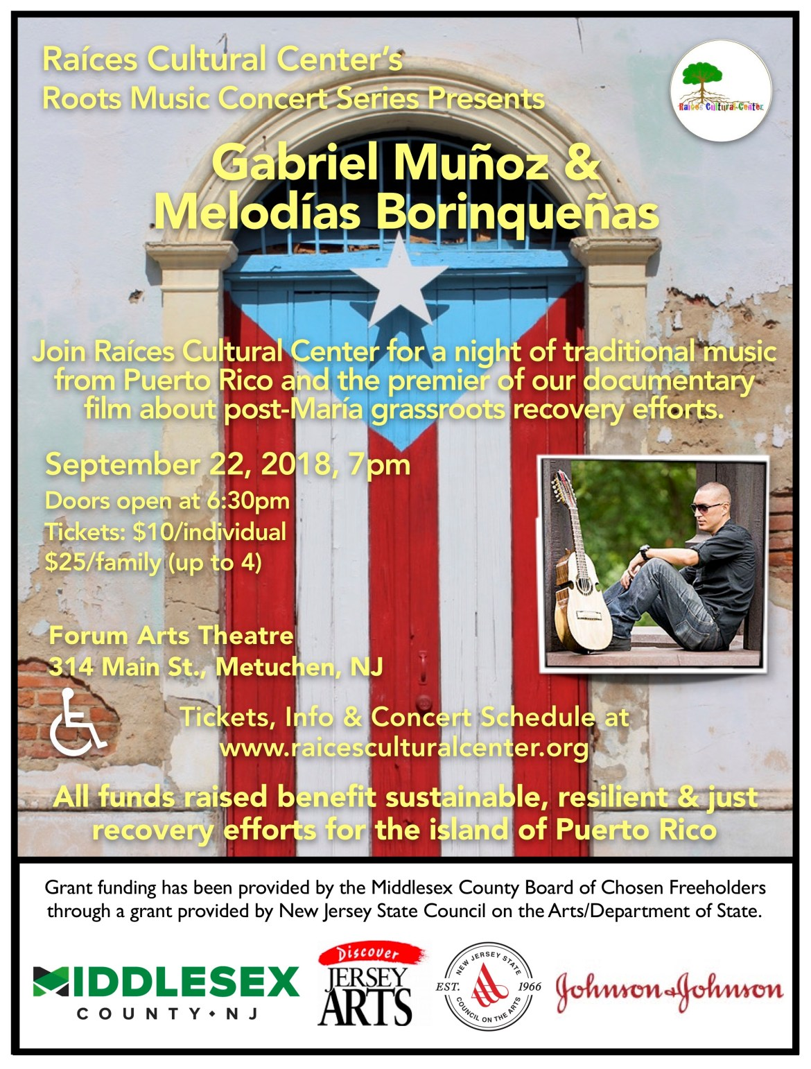 flyer for the next concert in the Raíces Roots Music Concert Series presenting Gabriel Muñoz & Melodías Borinqueñas