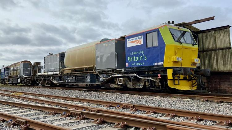 Autumn treatment train in siding at Wigan Springs branch depot