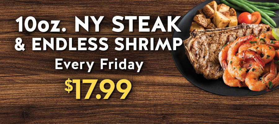 10oz. NY Steak & Endless Shrimp Special