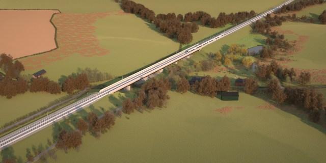 HS2 Lower Thorpe Viaduct, artist's impression