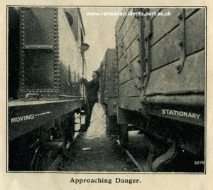 Posed 1930s accident prevention image, showing dangers of pinch points.