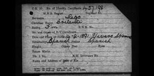 Registration card, personal details