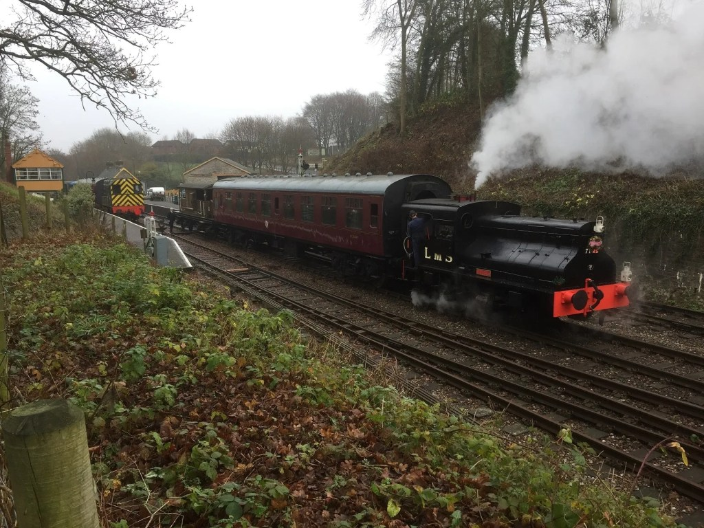 Sentinel on the part of the reinstated Somerset and Dorset Railway leaving Midsomer Norton station on 17 Dec 2016