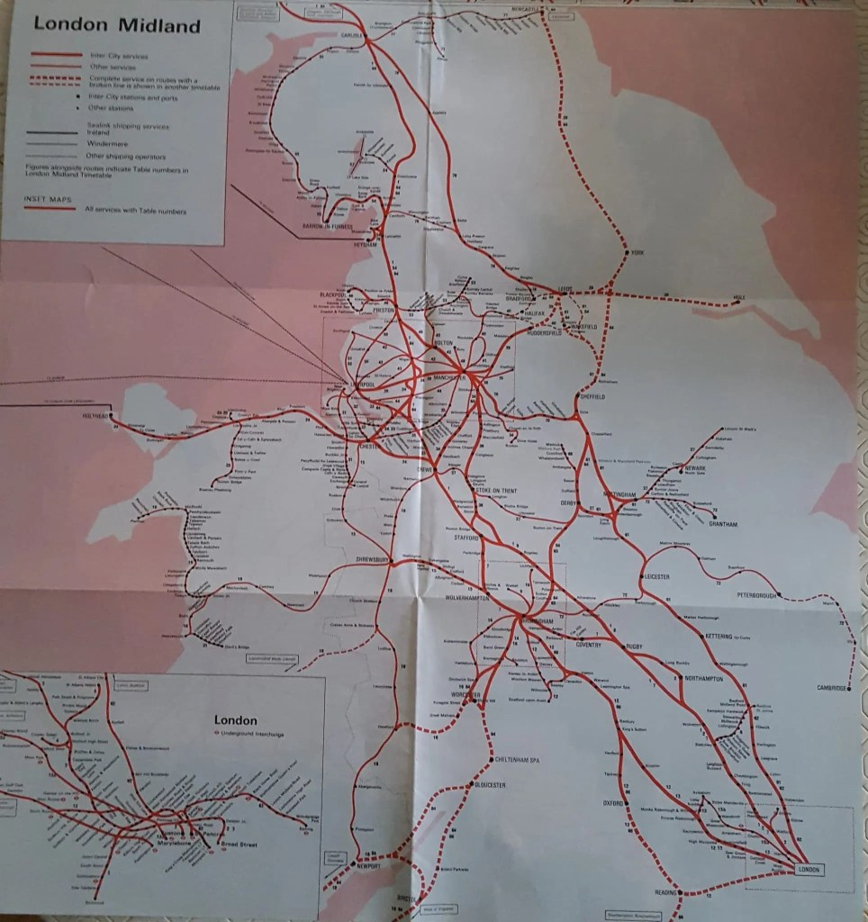 London Midland Region 1970s trains map of route
