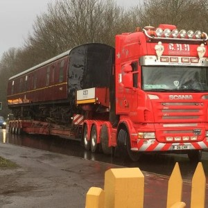 Mark 1 - railway carriage on low loader - Midsomer Norton