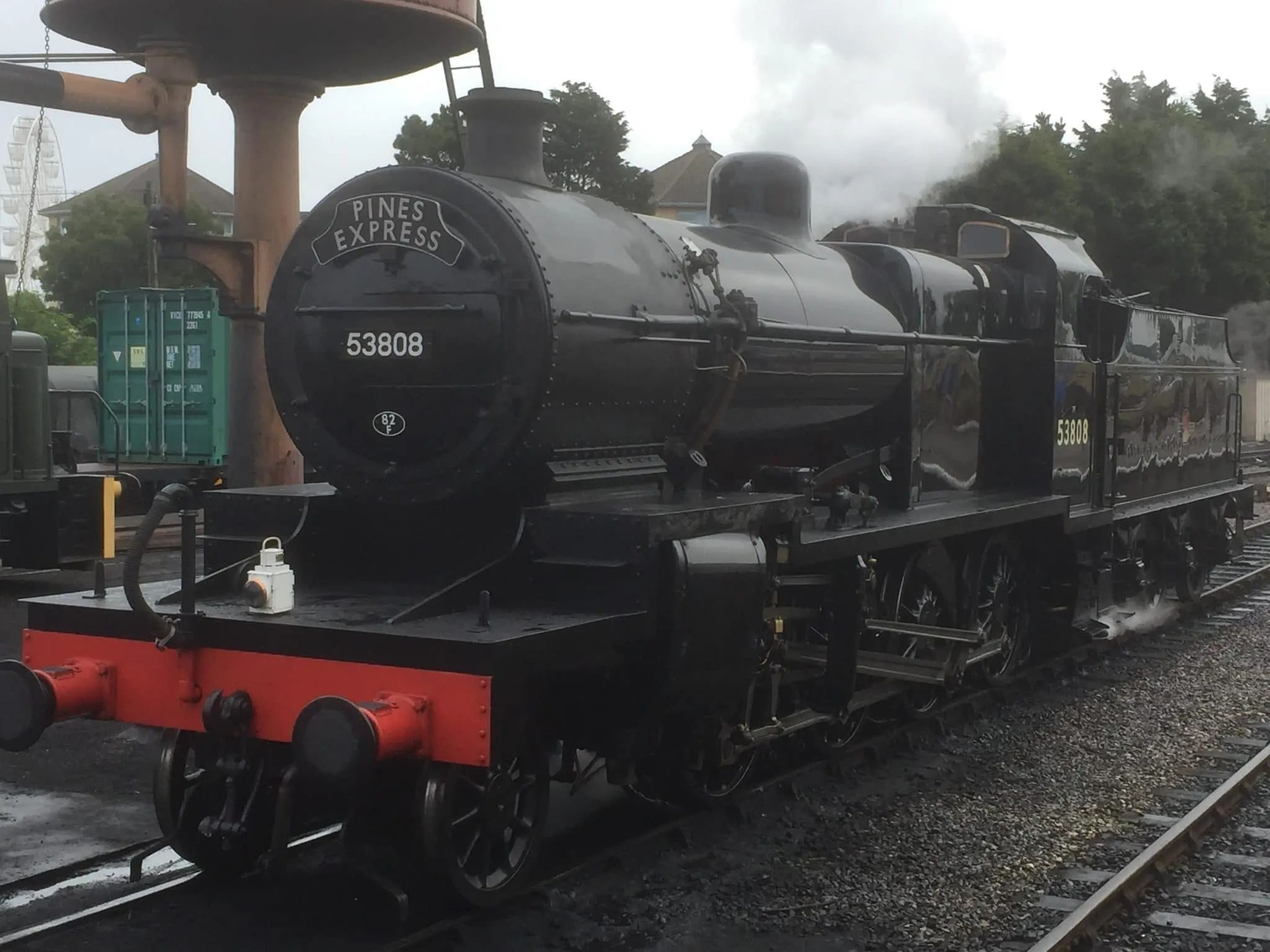 Steam locomotive 7f 53808 about to work the Pines Express on the West Somerset Railway