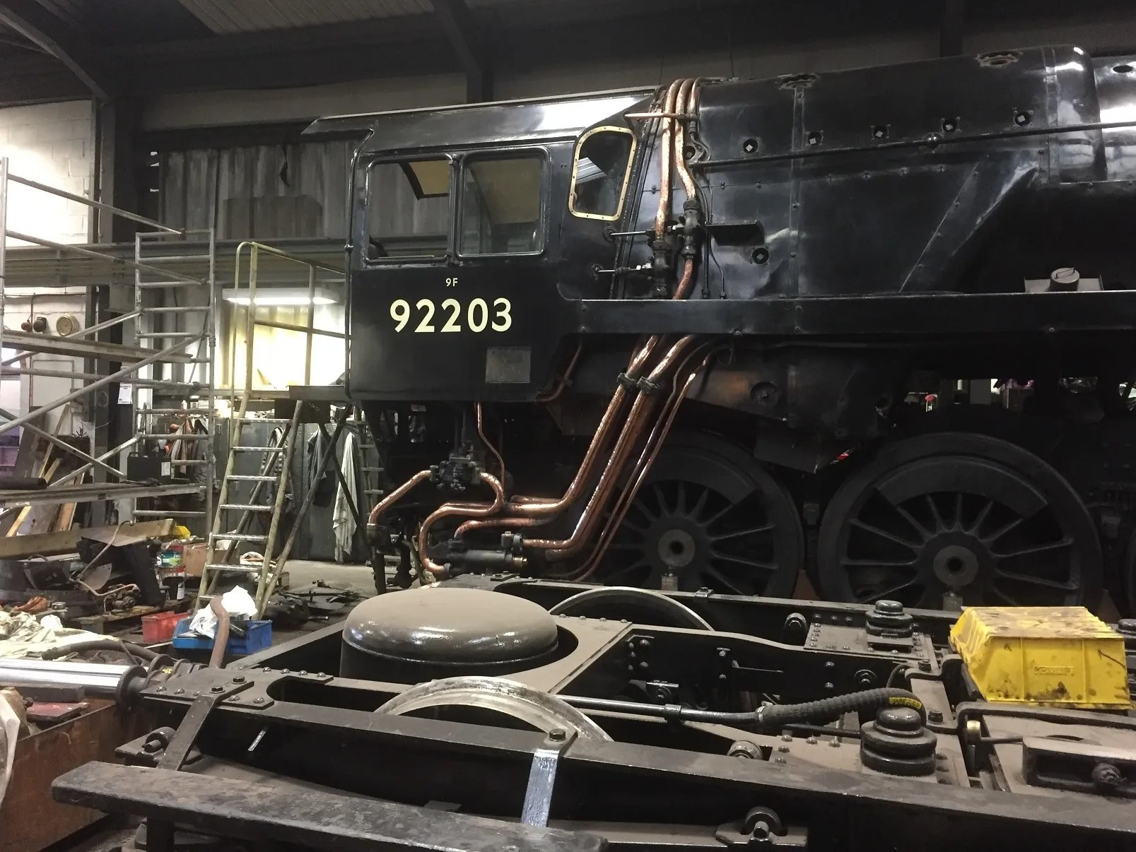9F - 92203 - Black Prince - North Norfolk Railway workshop