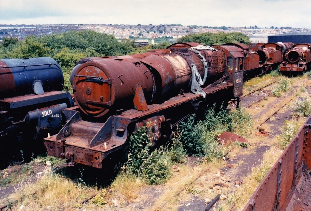 Steam locomotive Black 5 45163 awaits rescue at Barry Scrapyard - British Railways 1970s