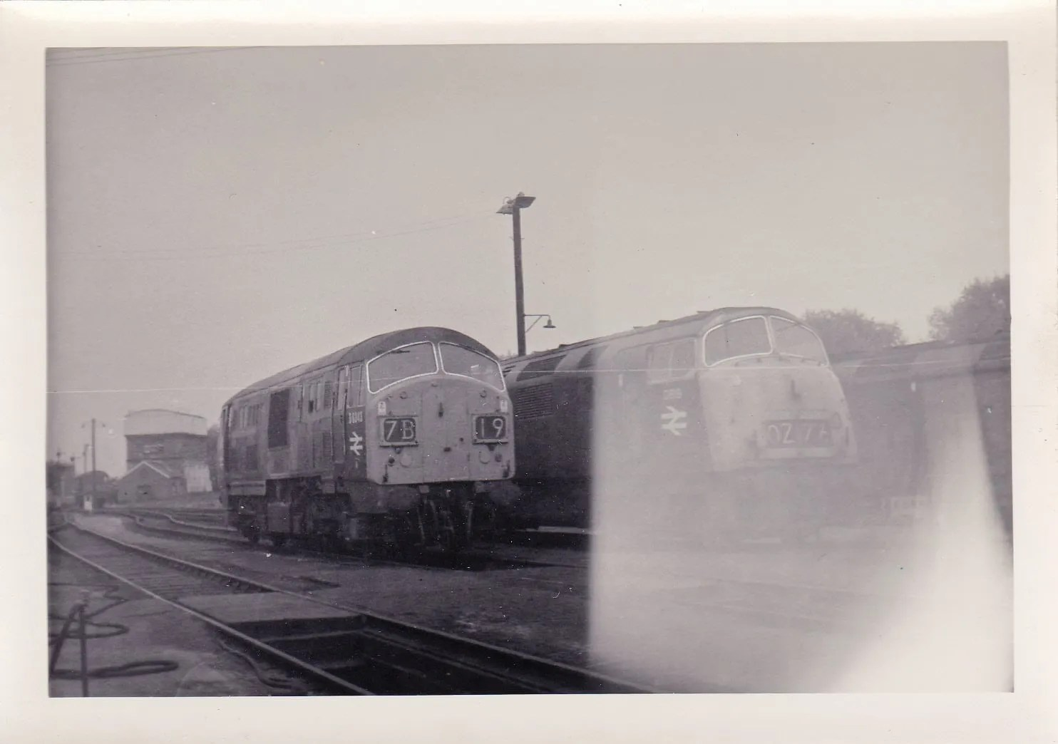 Dieset Hydraulic locomotives Class 22 6343 and Class 42 819 Goliath at Exeter St Davids railway depot June 1971