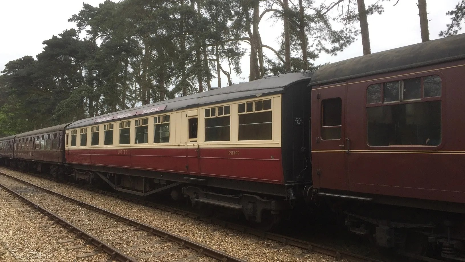 Gresley buffet coach E9128E showing The Broadsman carriage boards at the North Norfolk Railway
