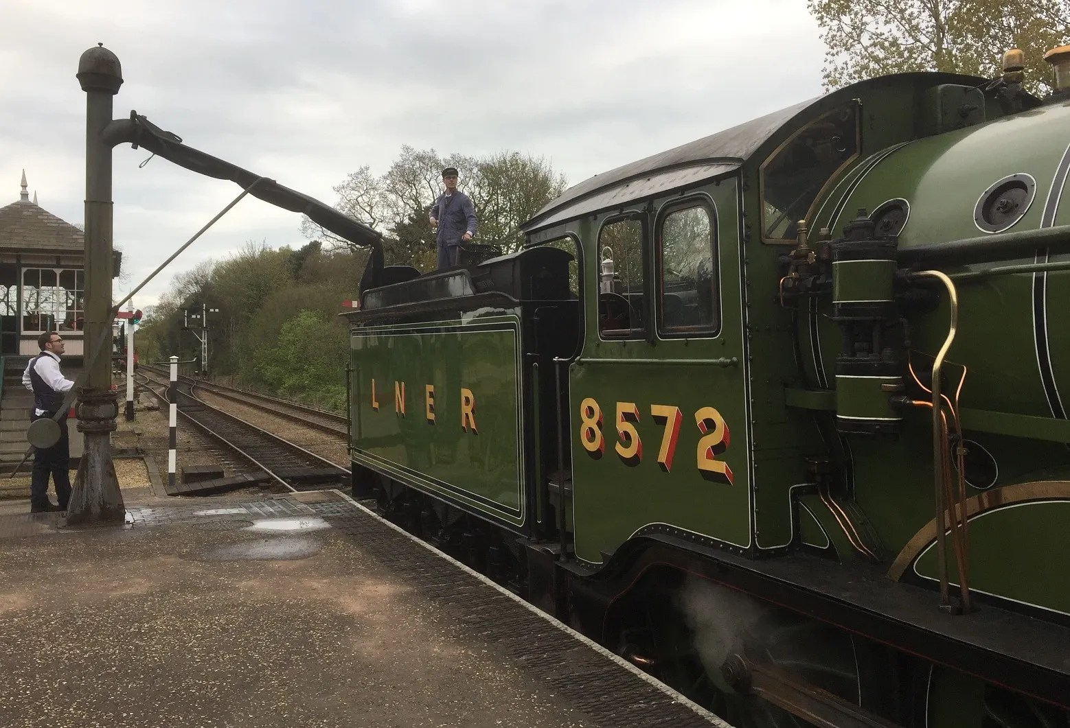 LNER B12 8572 being watered at Holt station on the North Norfolk Railway