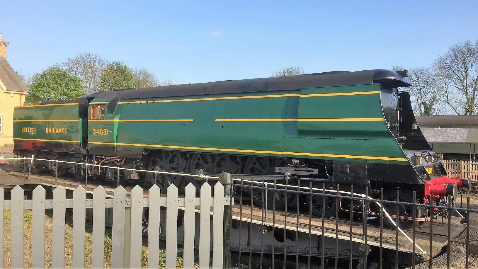 Steam train trip on locomotive 34081 - 92 Squadron - battle of britain locomotive - Wansford - Nene Valley Railway
