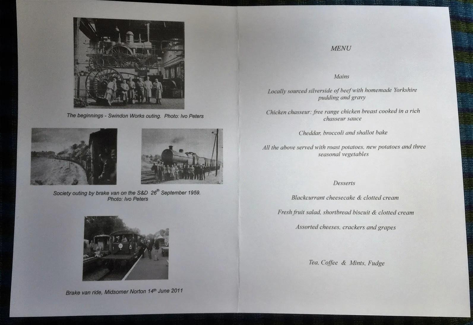 Bath Railway Society Jubilee Dinner menu