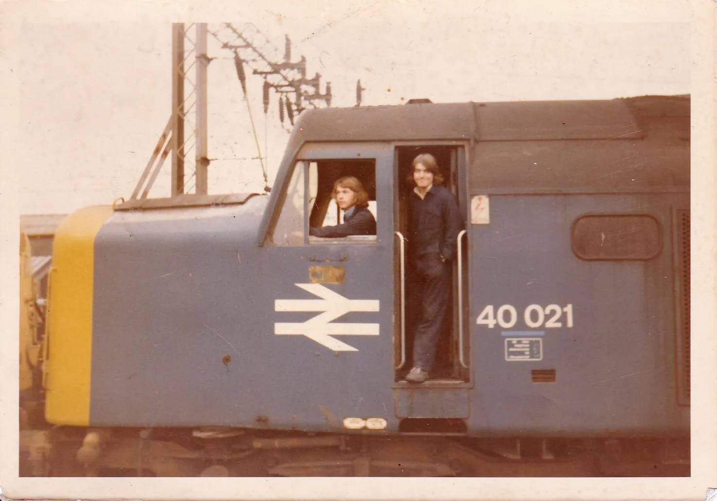 Myself in drivers seat & colleague Chris on 40021 Ivernia at Crewe Works withdrawn from MA Longsight Jul 1976 scrapped at the works May 1977