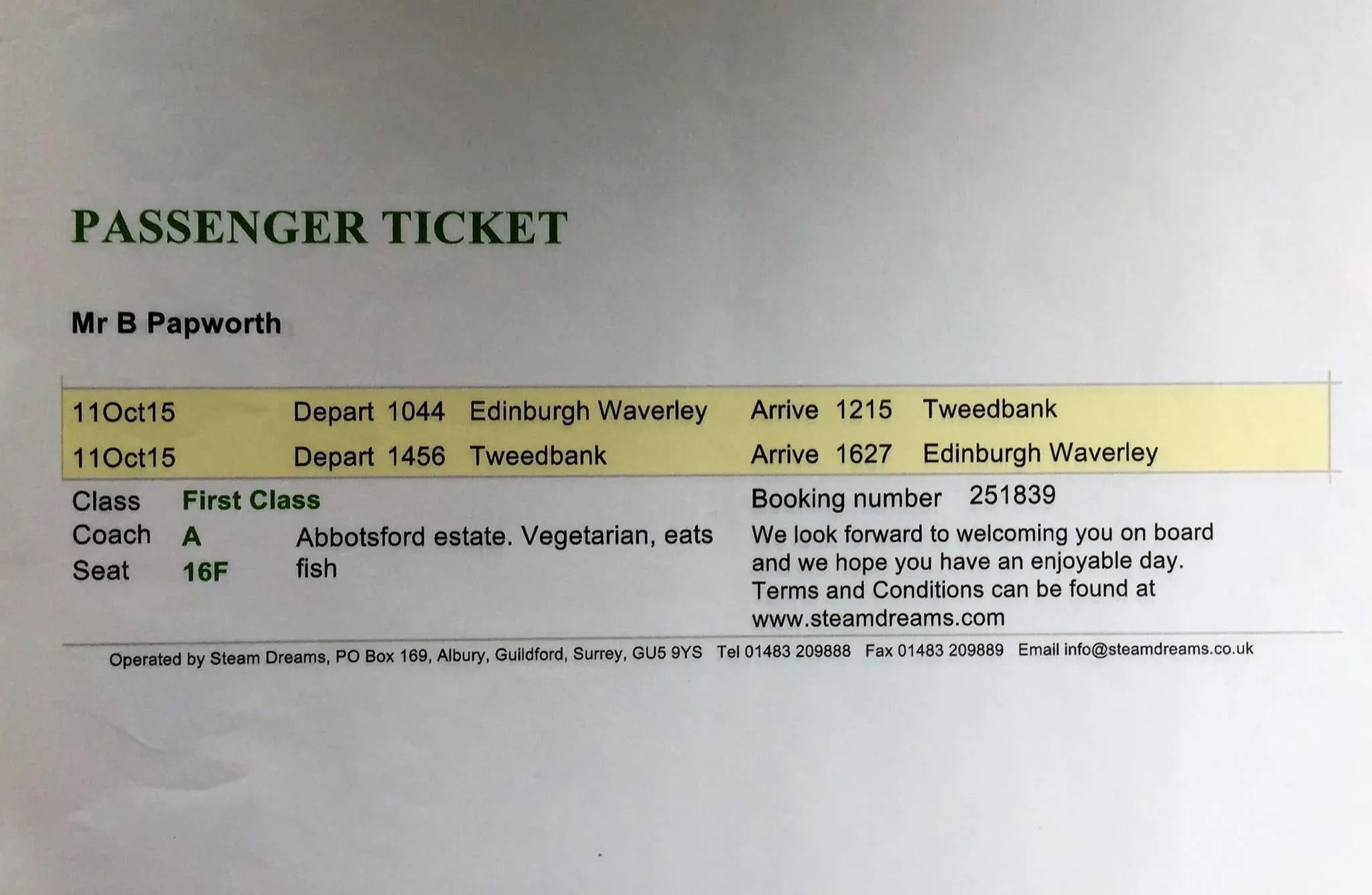 Waverley Route ticket - 2015
